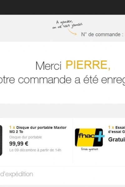 CARTE FNAC IMPOSEE A L'ACHAT...